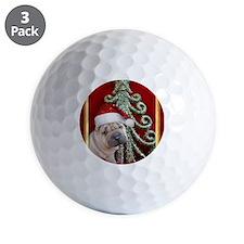 Christmas shar pei Golf Ball