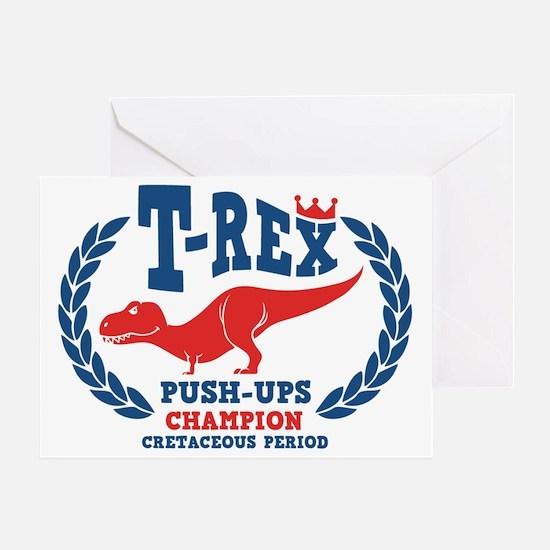 t-rex-push-ups-LTT Greeting Card