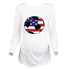 USA Soccer Ball Long Sleeve Maternity T-Shirt