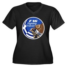 F-16 Fightin Women's Plus Size Dark V-Neck T-Shirt