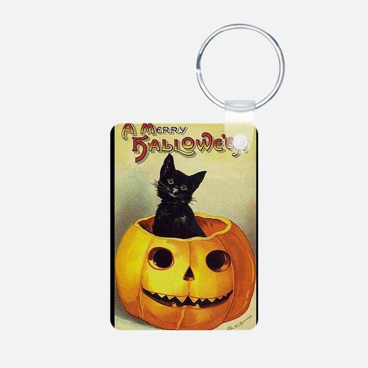 BlackKittenPumpkinGreetCar Keychains