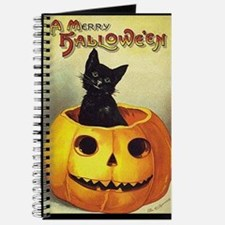 BlackKittenPumpkinGreetCardBorder Journal