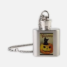BlackKittenPumpkinGreetCardBorder Flask Necklace