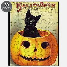 BlackKittenPumpkinGreetCardBorder Puzzle