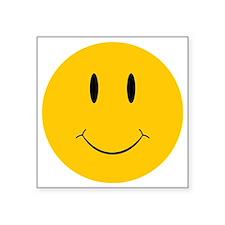 """Happy Orange Face Square Sticker 3"""" x 3"""""""