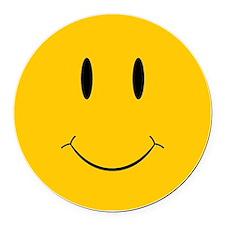 Happy Orange Face Round Car Magnet