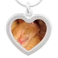 Sleepy little Kitty Silver Heart Necklace