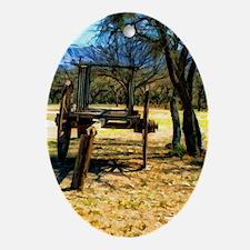 oxen wagon Oval Ornament