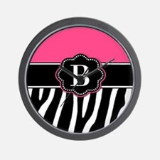 Pink Zebra Monogram Wall Clock