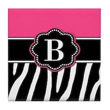 Pink Zebra Monogram Tile Coaster