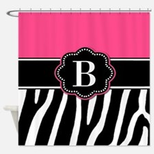 Pink Zebra Monogram Shower Curtain