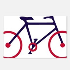 Navy Blue and Red Cycling Postcards (Package of 8)