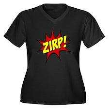 ZIRP! Women's Plus Size Dark V-Neck T-Shirt