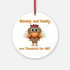 Thankful Turkey Round Ornament