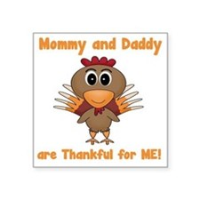 "Thankful Turkey Square Sticker 3"" x 3"""