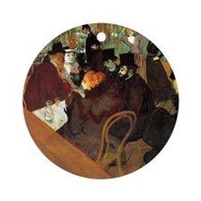 Toulouse-Lautrec At the Moulin Roug Round Ornament