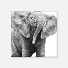"Baby Elephant Large Framed  Square Sticker 3"" x 3"""