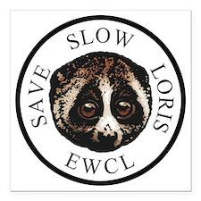 "slow loris circular logo Square Car Magnet 3"" x 3"""