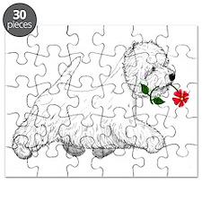 Red Flower Westie I Puzzle
