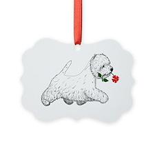 Red Flower Westie I Ornament