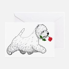 Red Flower Westie I Greeting Card