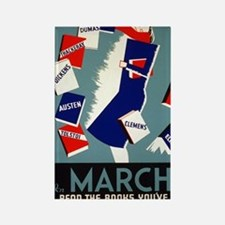 Vintage March is for Reading Rectangle Magnet