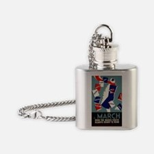 Vintage March is for Reading Flask Necklace