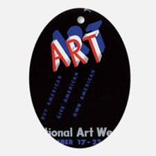 Vintage National Art Week Oval Ornament