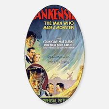 Vintage Frankenstein Horror Movie Sticker (Oval)