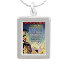 Vintage Frankenstein Hor Silver Portrait Necklace