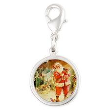 Santa Claus 70_SQ Santa Silver Round Charm