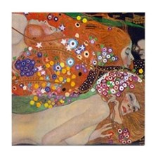 Gustav Klimt Water Serpents Tile Coaster