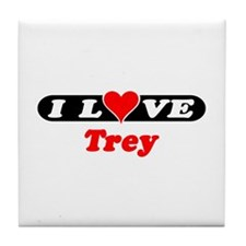 I Love Trey Tile Coaster