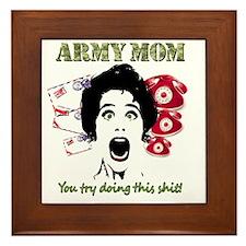Crazy Army Mom Framed Tile