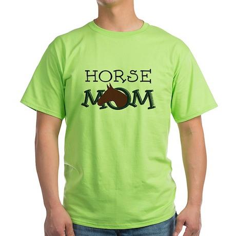 Horse mom bay horse Green T-Shirt
