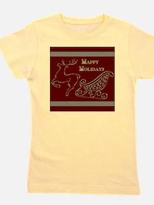 Christmas raindeer gold 2 happy  Girl's Tee