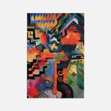 August Macke Colored Composition Rectangle Magnet