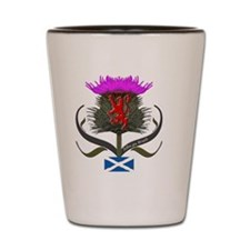 Scotland thistle lion and saltire flag Shot Glass