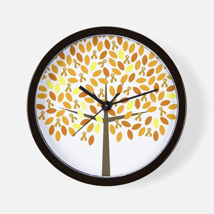 Gold Ribbon Tree Wall Clock