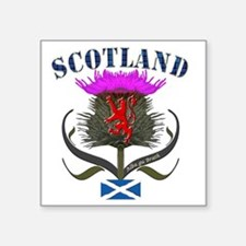 "Tartan Scotland thistle lio Square Sticker 3"" x 3"""