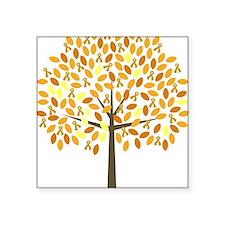 "Gold Ribbon Tree Square Sticker 3"" x 3"""