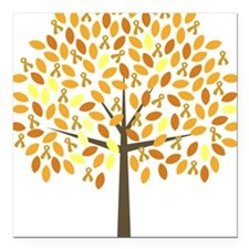 "Gold Ribbon Tree Square Car Magnet 3"" x 3"""