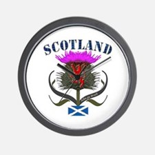 Tartan Scotland thistle lion saltire Wall Clock