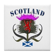 Tartan Scotland thistle lion saltire Tile Coaster