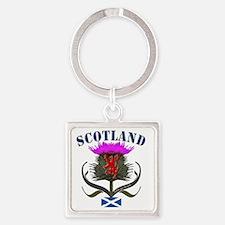 Tartan Scotland thistle lion salti Square Keychain