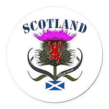 Tartan Scotland thistle lion salt Round Car Magnet