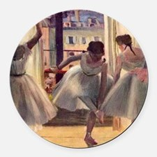 Edgar Degas Three Dancers In A Pr Round Car Magnet
