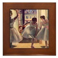 Edgar Degas Three Dancers In A Practic Framed Tile