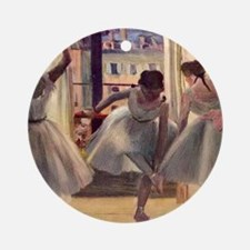 Edgar Degas Three Dancers In A Prac Round Ornament