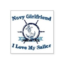 "Navy girlfriend Square Sticker 3"" x 3"""